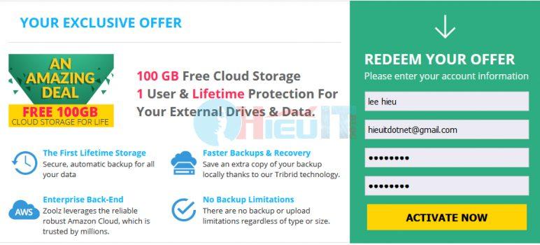 nhận 100gb lưu trữ đám mây trọn đời