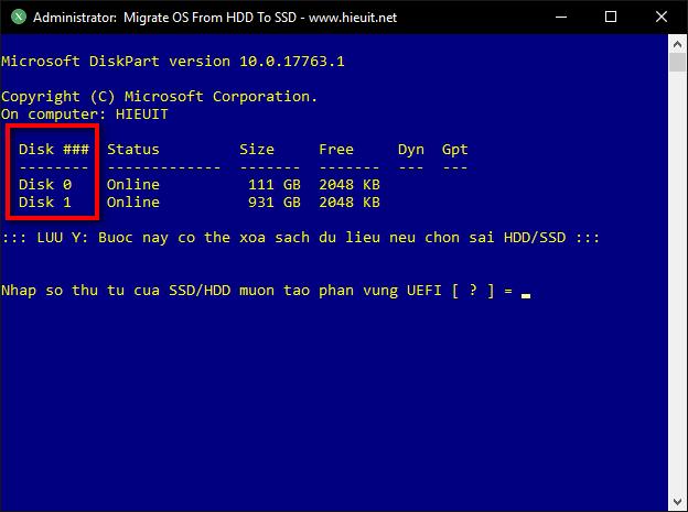 lựa chọn ổ cứng để chạy diskpart